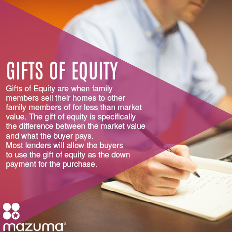 What are gifts of equity? Gifts of Equity are when family members sell homes for less than market value to other family members.